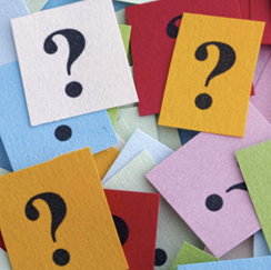 Colorful cards with question marks